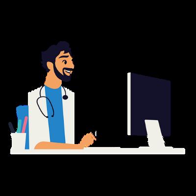 julien, médecin généraliste sur son ordinateur