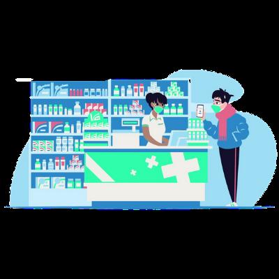Patient qui récupère ses médicaments grâce à sa e-prescription en pharmacie